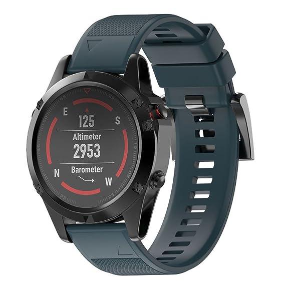 JiaMeng Correas para Garmin Fenix 5 Reloj GPS de Pulsera de Silicagel Correa de Banda de instalación rápida(Armada): Amazon.es: Ropa y accesorios