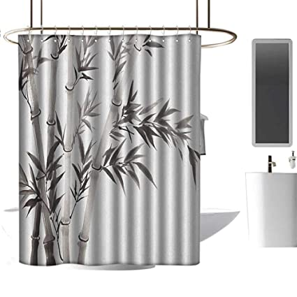 Grey Shower Curtain Traditional Bamboo Leaves Print for Bathroom