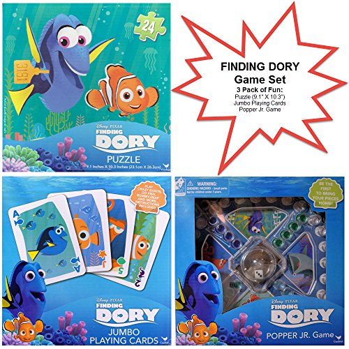 3 Pack Finding Dory Game Set - Finding Dory Puzzle; Finding Dory Popper JR. Game; Finding Dory Jumbo Playing Cards (Ouija Board Piece)
