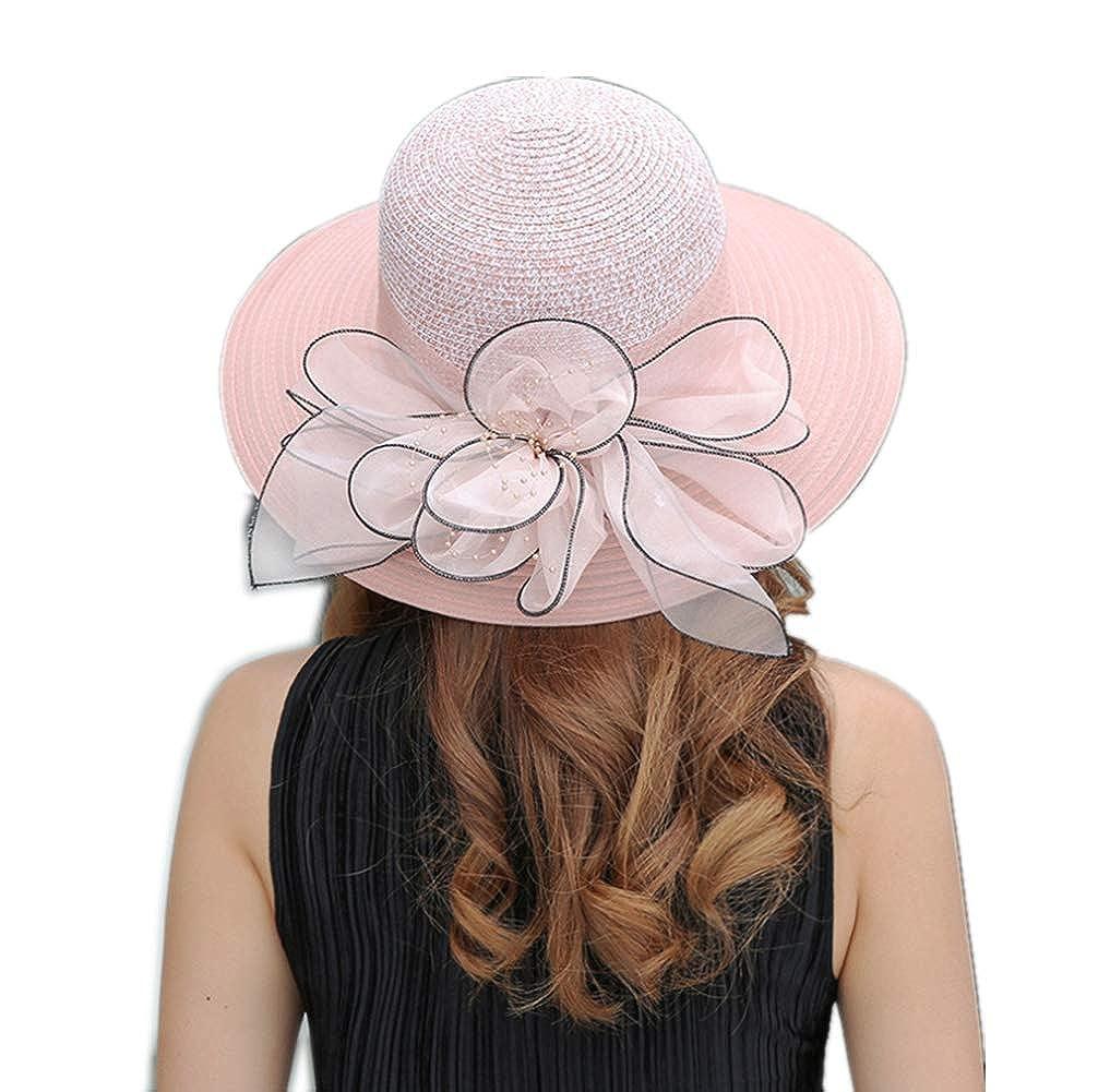 YSJOY Womens Organza Sun Hat Wedding Kentucky Hat Fascinators Derby Hat