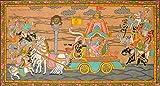 Gita Upadesha - Patachitra Folk Art from the Temple Town of Puri (Orissa) on Tussar Silk Fabric