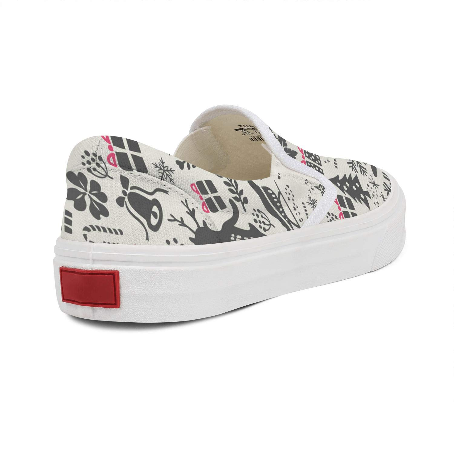 Womens Christmas Style Canvas Sneakers Flat Bottom Non-Slip Beautiful Sports Shoes
