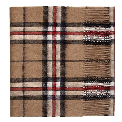 (Pure Lambswool Luxury Tartan Scarf, Camel Thomson-One)