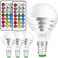 Ampoule LED RGBW avec Télécommande Sans Fil,Changement de Couleur Dimmable LED Bulbs,3W (=20W Ampoule Halogène), Blanc Froid, 6000K, Culot E14, Lot de 4 unités,Lampe d'ambiance(4 Pack E14 +6000K)