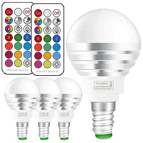 Bombilla led Colores E14, Bombilla RGBW con mando a distancia,3W Equivalente a 30W