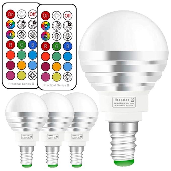 Bombilla led Colores E14, Bombilla RGBW con mando a distancia,3W Equivalente a 30W Halógena,5700K Luz Blanca Fría,bombilla colores regulable 12 Color,Pack ...
