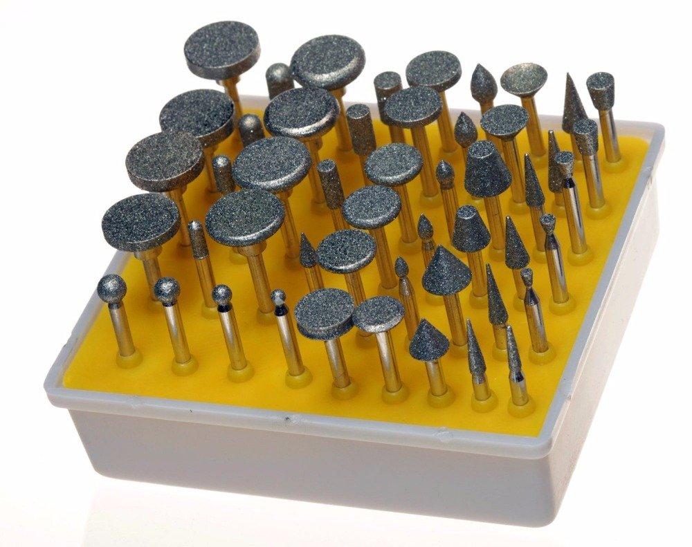 Driak 50 Pieces 1/8'' Shank Diamond Coated Rotary Grinding Heads in Box Set,Grit 150