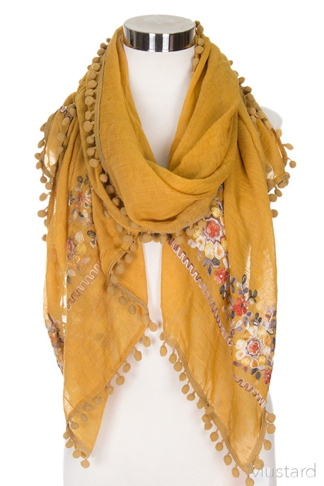 ScarvesMe Women's Floral Embroidered Accent Oblong Scarf with Pom Pom (Mustard)