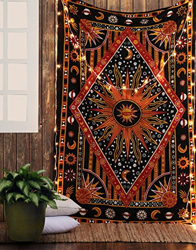RAJRANG BRINGING RAJASTHAN TO YOU Celestial Sun and Moon Tapestry - Indian Hippie Psychedelic Tapestries Wall Hanging Bohemian Stars Planet Bedspread Mandala Beach Blanket