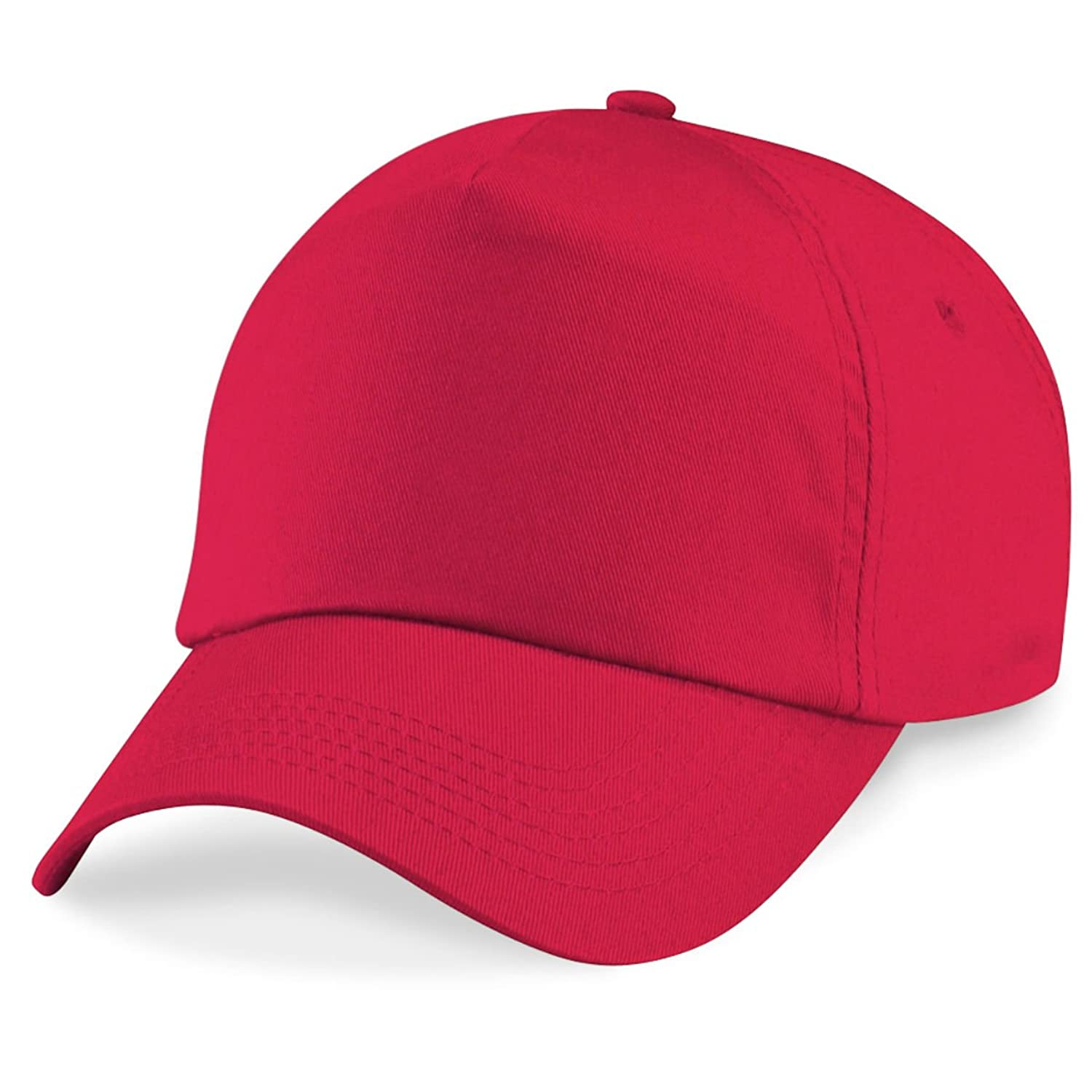 Beechfield 5 panel unlined cotton cap in Bright Red Leuchtend rote