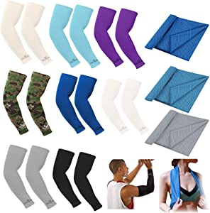 8 Pairs UV Protection Arm Sleeves, Outdoor Sports Basketball Golf Warmer Arm Sleeves Cycling UV Sun Protection Cooling Ice Silk Arm Cover Sleeves with 3 Cooling Towels for Women Men