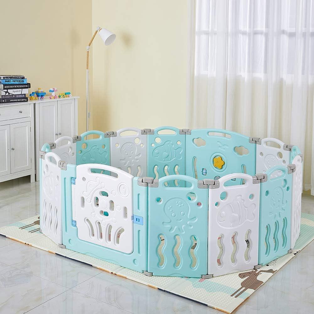 Pink//White Albott Baby Playpen Extension Baby Playpen with Activity Panel Kids Plastic Playpen Activity Center Home Indoor Outdoor Playpen for Toddler 1 Door Panel 1 Interactive Play Panel