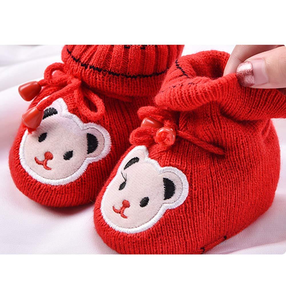 Fashionwu Newborn Baby Warm Handmade Shoes Soft Knitted Cartoon Toddler Shoes