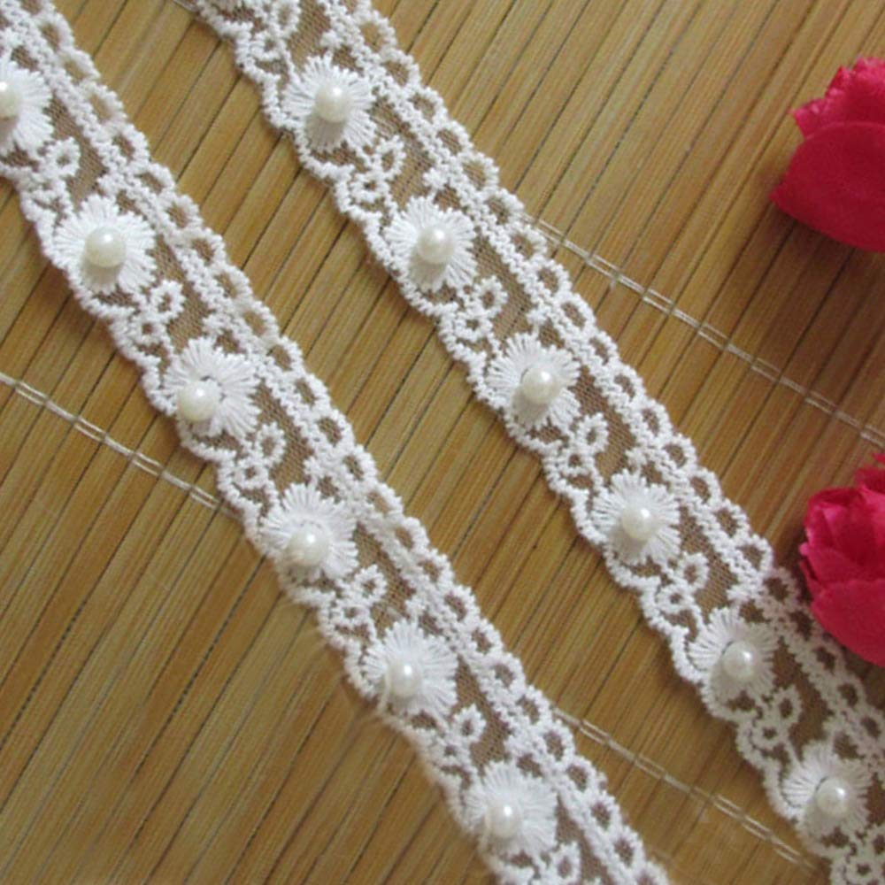 YYCRAFT 5 Yards Rose Flower Lace Edge Trim Wedding Applique DIY Sewing Crafts Baby Pink,Width:1-3//8