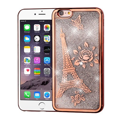 Paris Glitter (ShopAegis - [GLITTER QUICKSAND] [Rose Gold] Paris Eiffel Tower Silver Electroplating Liquid Phone Cover Case for Apple iPhone 6/6s Plus +)