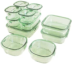 Iwaki Pack&Range DELUXE Set Glass Food Container Microwave & Oven Use Ok Green PS-PRN-11G from Japan
