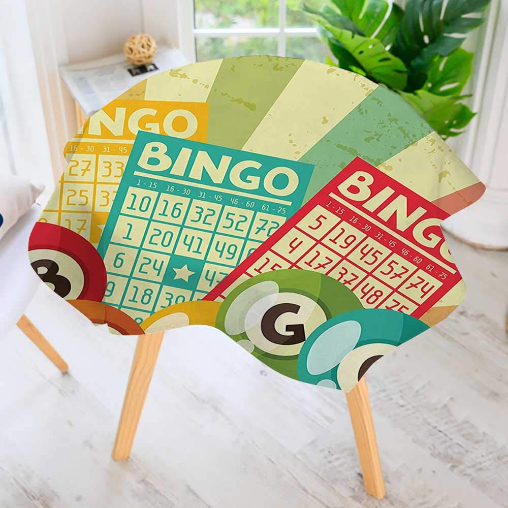 Circular Table Cover Washable Polyester- Bingo Game with Ball and Cards Pop Art Stylized Lottery Hobby Celebration Theme Stain Resistant Wrinkle Free Dust Table Cover 63'' Round