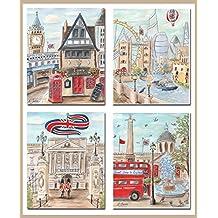 London Nursery Decor, Paddington Station Personalized Wall Art For Boys Travel Themed Bedroom, Set Of 4, 6 Sizes, British Kids Wall Art Poster
