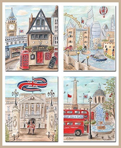 London Nursery Decor, Paddington Station Personalized Wall Art For Boys Travel Themed Bedroom, Set Of 4, 6 Sizes, British Kids Wall Art Poster British Isle Bedroom