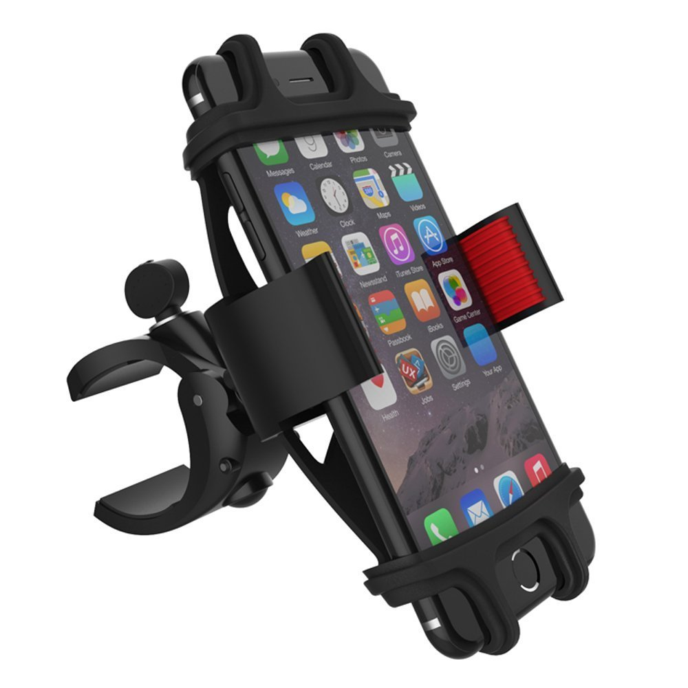 Metal Bike Motorcycle Phone Mount for Handlebars 0.6-1.6'', Fit iPhone 8 | 8 Plus, 7 | 7 Plus, 6s | 6s Plus, X, Galaxy S8, S7, S6, S5, Note 8, Hold Phones Up To 3.5'' Wide (Black+Red)