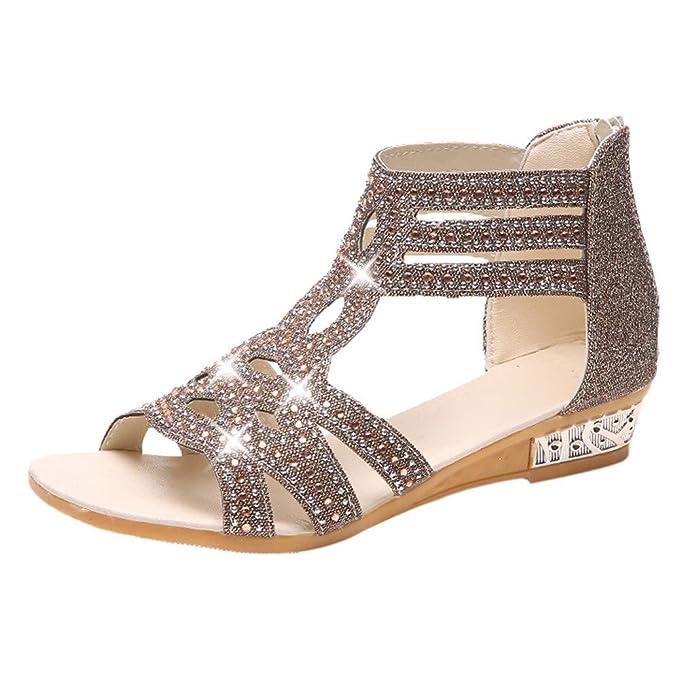 LANSKIRT_Zapatos Sandalias de Vestir Mujer, Mujer Verano Sandalias y Chanclas para niñas Zapatos de Planos Roma Sandalias de cuña Moda Pescado Boca