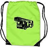 Turnbeutel Feuerwehr Sportbeutel Bag Base® BG10 Gymsac 45x34cm Nr.6: lime grün/schwarz