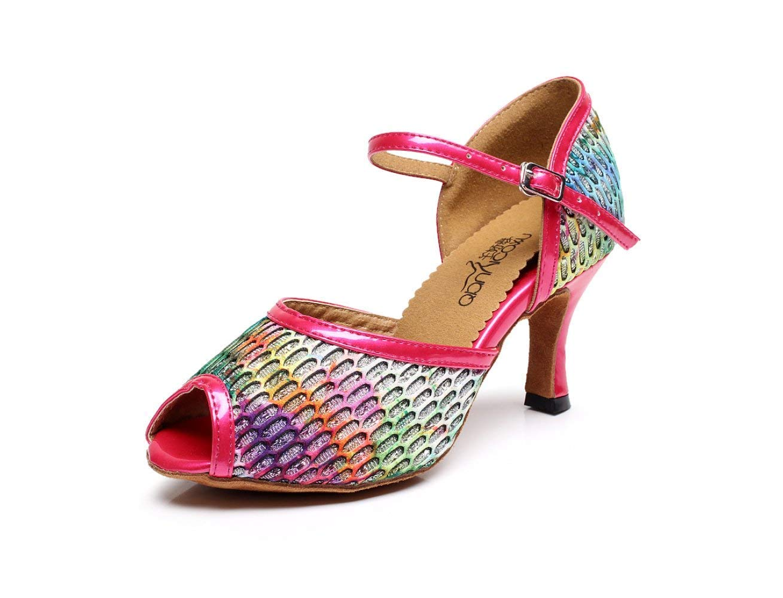 Yingsssq Frauen Salsa Tango Ballsaal Latin Dance Schuhe Party Dance Schuhe Sandalen High Heels RosaHeeled7.5cm-UK3   EU33   Our34 (Farbe   Rosaheeled7.5cm Größe   UK5 EU37 Our38)