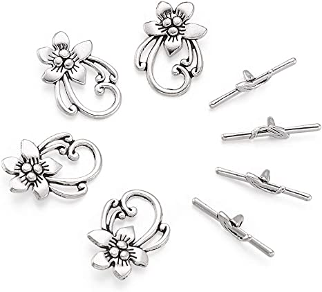 10 Sets Silver Tone Bracelet Clasps Lily Flower Toggle DIY Crafts Jewelry Making Findings