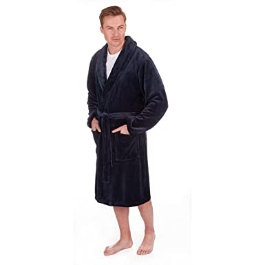 PIERRE ROCHE Mens Big and Tall Flannel Fleece Dressing Robe at ...
