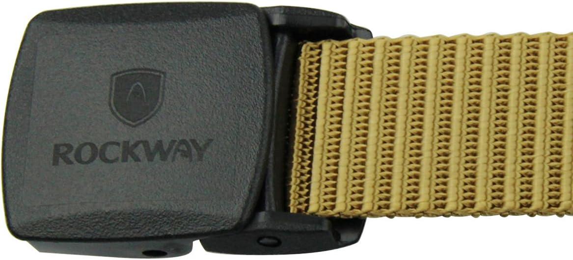 Rockway Unisex Nylon Belts Colorful Modern Striped Nylon Belt with Hypoallergenic Buckle Travel Belt