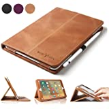 iPad Pro 9.7 Case, Boriyuan iPad Pro 9.7 Leather Case Folio Stand Cover with Auto Sleep/Wake Function for Apple iPad Pro 9.7 inch 2016 + Screen Protector + Stylus, Brown