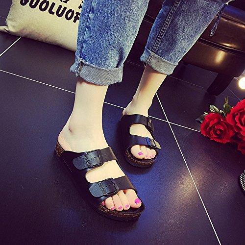 Pente avec sandales à talons hauts à bascule --- Été Nouveaux pantoufles cool Les couples sont résistants aux chaussures de plage Sandales homme et femme noir --- Herringbone fashion sweet Sandals