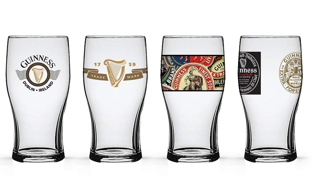 Guinness Beer Tulip Pub Pint Glasses (4 pc set)