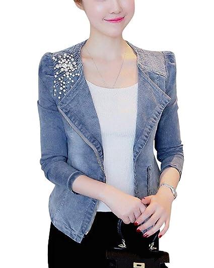 BOLAWOO Chaquetas De Mezclilla Elegante Mujer Corto Abrigos Otoño Diamante De Imitación Manga Larga Mode De Marca Cuello Redondo Abrigo De Jeans Slim Fit ...