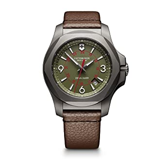 a064a8f6c Victorinox Swiss Army Men's I.N.O.X. Titanium Swiss-Quartz Watch with  Leather Strap, Brown,