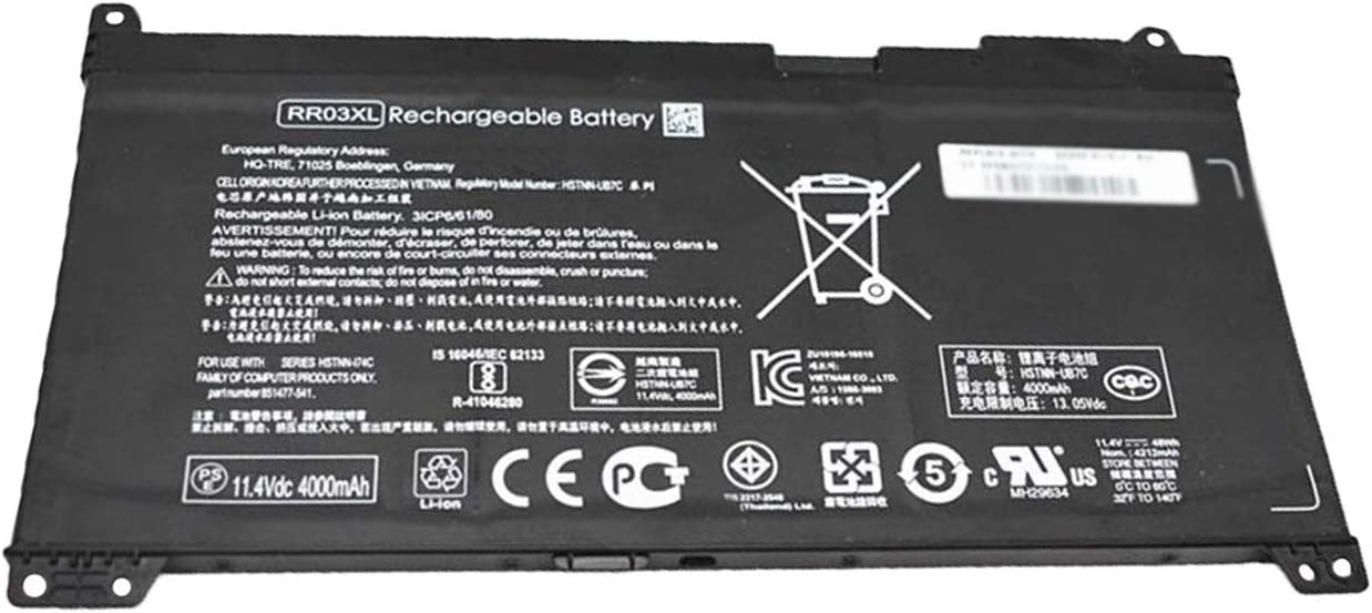 BOWEIRUI RR03XL (11.4V 48Wh 4000mAh) Laptop Battery Replacement for HP ProBook 430 440 450 455 470 G4 MT20 Series HSTNN-UB7C HSTNN-I74C RR03048XL 851477-541 851610-850