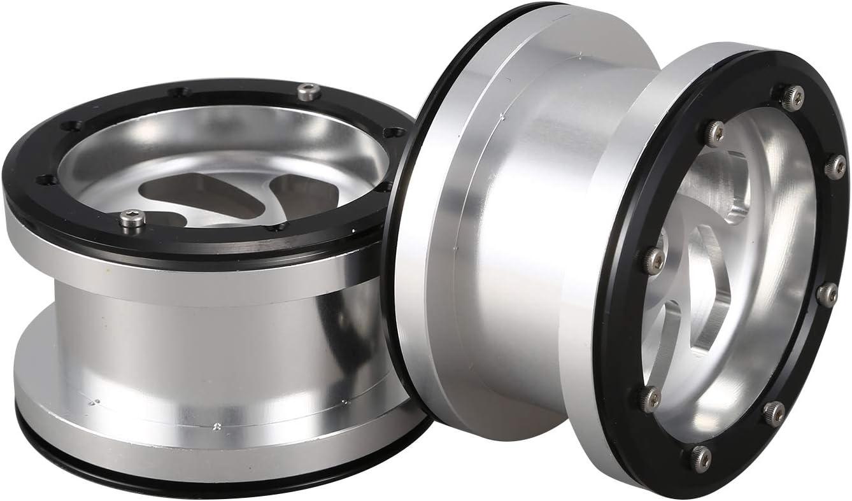 PQZATX 4 Teilige 2,2 Zoll Metall Beadlock Felgen f/ür 1//10 RC Crawler Axial Wraith Silber