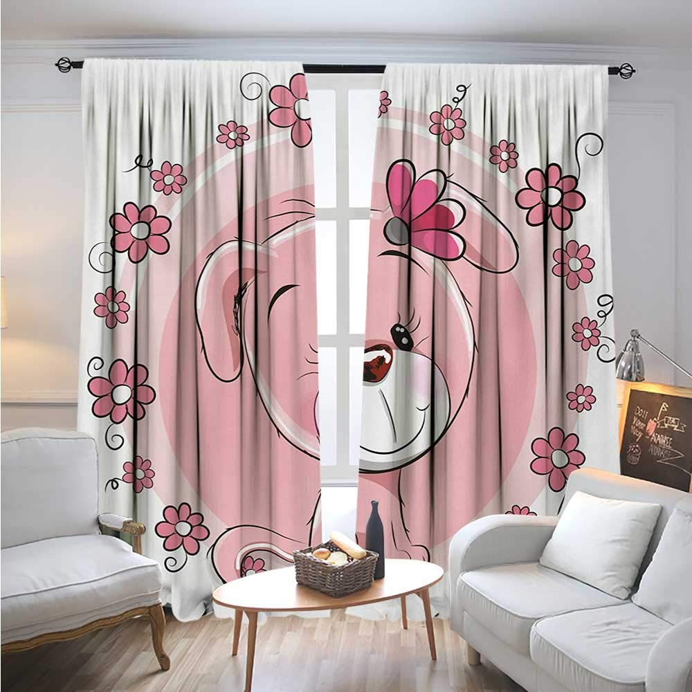 color10 W72\ color10 W72\ BlountDecor DogBlackout DrapesCute Little Puppy with Daisy Flowers Cheerful Adorable Domestic Pet GirlsCover The Sun W72 x L96 Pale Pink Coral White
