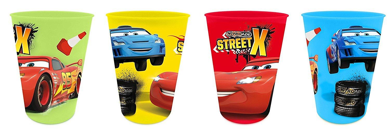 Disney Lot de 4 Gobelets Plastique Cars pour Enfants Disney Cars EL59402