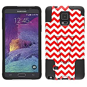 Samsung Galaxy Note 4 Hybrid Case Chevron Zig Zag Red White 2 Piece Style Silicone Case Cover with Stand for Samsung Galaxy Note 4