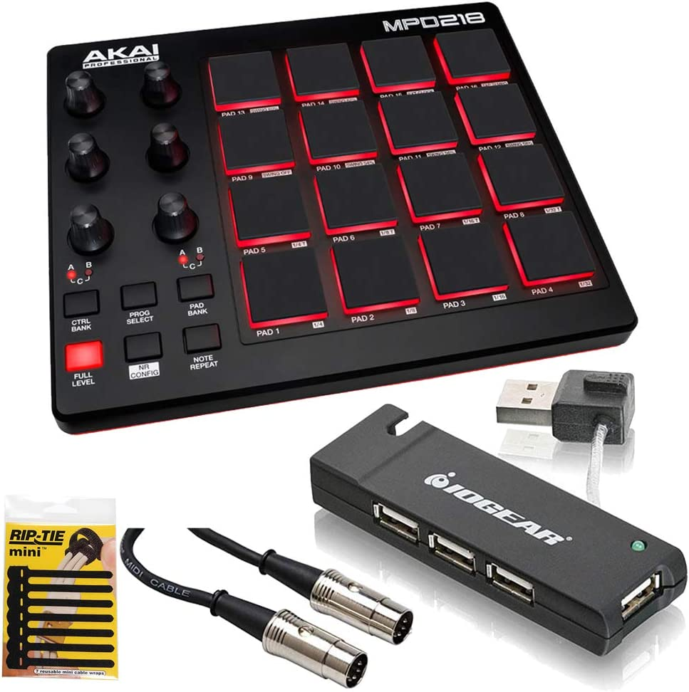 Akai Professional MPD218 | MIDI Drum Pad Controller with Software Download Package (16 pads / 6 knobs / 6 buttons) 61pL503etbLSL1000_