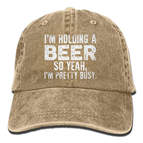 I'm Holding A Beer So Yeah I'm Pretty Busy Retro Washed Dyed Adjustable Plain Cowboy Cap ¡­ Yellow