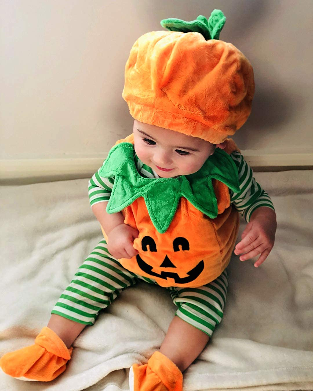 Toddler Infant Baby Boy Girl Pumpkin Halloween Costumes Romper Bodysuit Outfit with Hat 0-3T