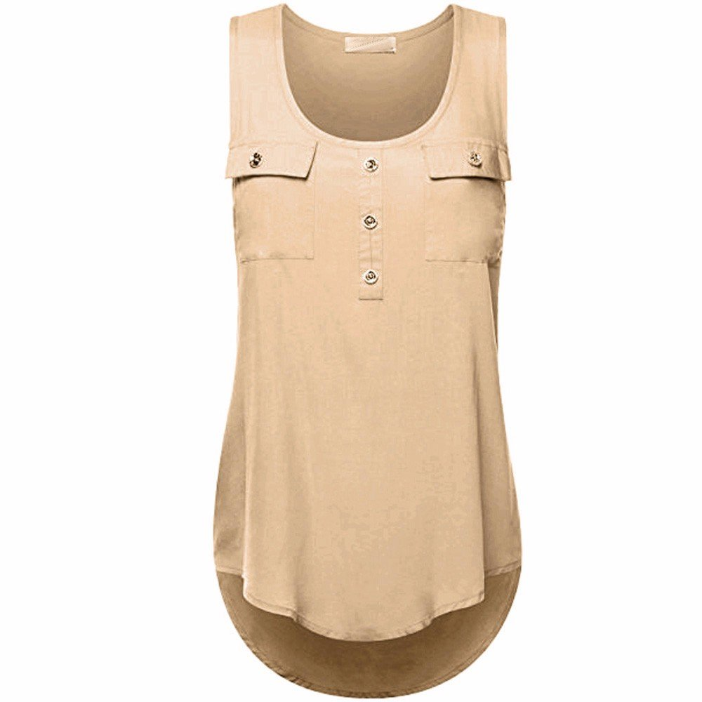 Camisoles of Women Sleeveless Tank Sexy Printed Vest Loose Crop Top Camis Blouse Khaki
