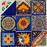 9 Hand Painted Talavera Mexican Tiles 4''x 4''