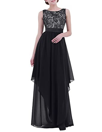 iEFiEL Womens Ladies V-Back Chiffon Elegant Empire Wedding Party Bridesmaid Formal Evening Maxi Long
