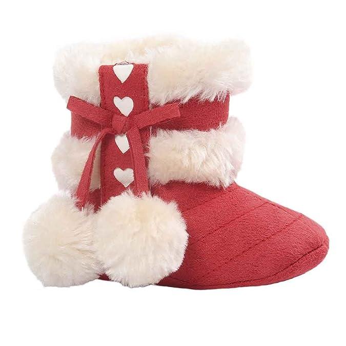🎀 Botas de Zapatos de Recién Nacidos en Velvet First Childhood Botas de Pompones Dulces para niños Zapatos Antideslizantes Suaves - Zapatos de Princesa ...