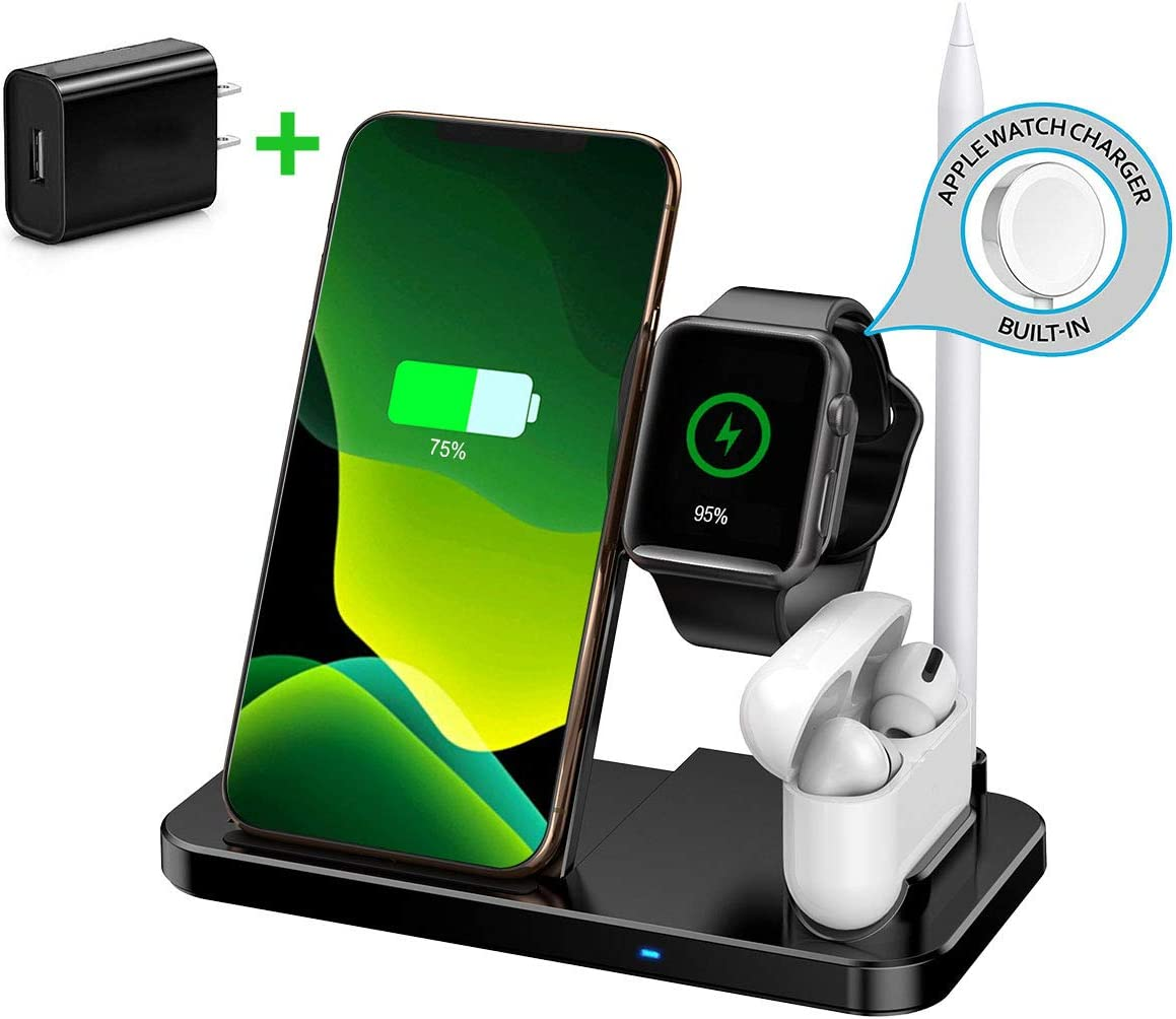 HATALKIN 4 in 1 Fast Wireless Charger Compatible with Apple Watch SE, iWatch Series 6/5/4, AirPods Pro, Pencil, iPhone 11/11 Pro/Max/XR/X,Samsung S10/10+/10e and QI Enabled Phones (with QC3.0 Adapter)