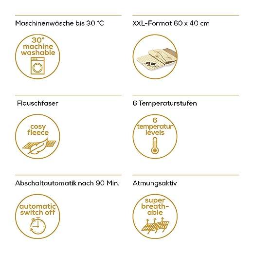 Beurer HK125XXL Almohadilla eléctrica térmica con funda, transpirable, tacto suave, calentamiento ultrarápido, función apagado automático 90 minutos, ...