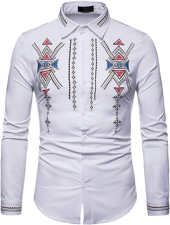 Camisas para hombre Hombres de lujo Hipster bordado Slim Fit Tops cuello de la solapa de manga larga con botones abajo camisa de caballero Elegante camisa de vestir (Color : Blanco ,